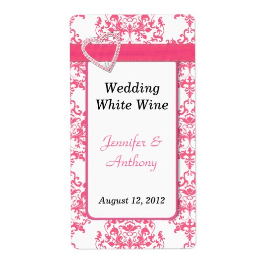 Pretty Pink & White Damask Wedding Wine Labels