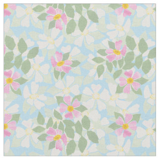 Pretty Pink White Dog Roses on Sky Blue Fabric