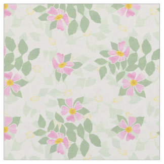 Pretty Pink White Dog Roses on White Fabric