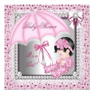 "Pretty Pink White Girl Baby Shower 5.25"" Square Invitation Card"