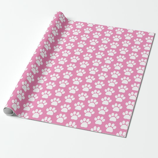 Pretty Pink White Pet Dog Paw Print Pattern