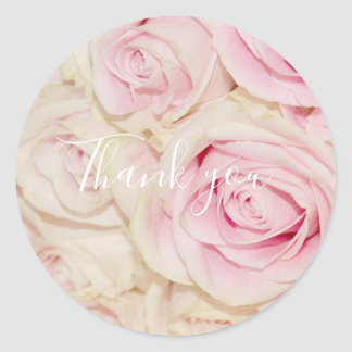 Pretty Pink White Roses Classic Round Sticker