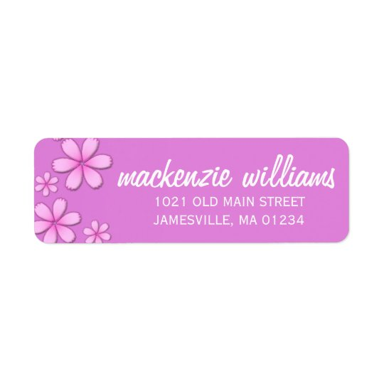 Pretty Pink with White Text Return Address Label
