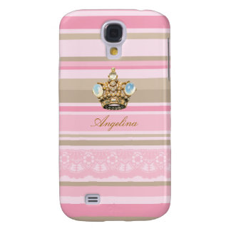 Pretty pinks stripes crown HTC Vivid phone cases