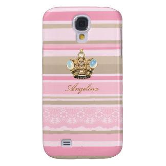 Pretty pinks stripes crown HTC Vivid phone cases