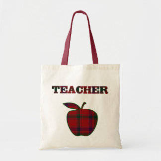Pretty Plaid Apple Teacher's tote bag