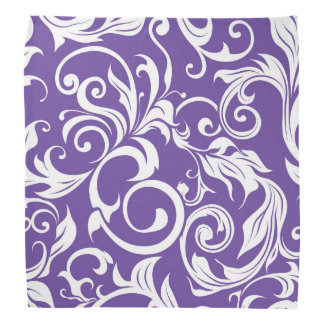 Pretty Plum Dark Purple Floral Wallpaper Pattern Bandana