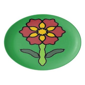 Pretty Poinsettia Porcelain Serving Platter