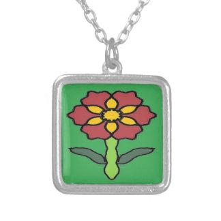 Pretty Poinsettia Silver Plated Necklace