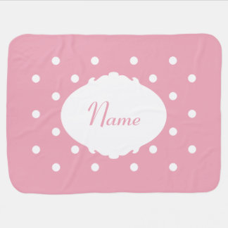 Pretty Polka Dot Name Baby Blanket
