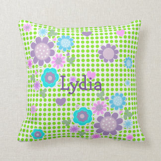 Pretty Polka Dot Whimsy Floral Print Personalized Throw Pillow