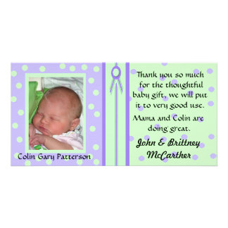 Pretty Polka Dots Baby photo thank you cards Custom Photo Card