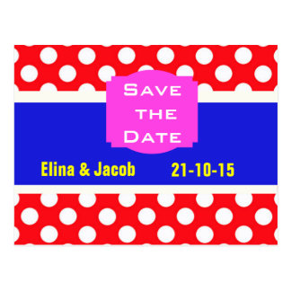 Pretty Polka Dots Save the Date Postcard (red)