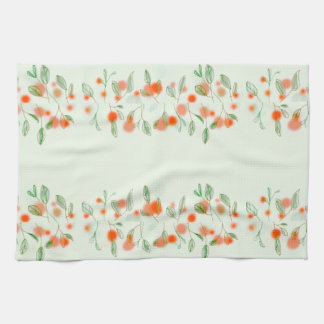 Pretty pom-Pom flowers and leaves Kitchen Towel