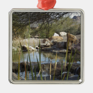Pretty Pond Silver-Colored Square Ornament