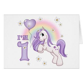 Pretty Pony First Birthday Invitations Note Card