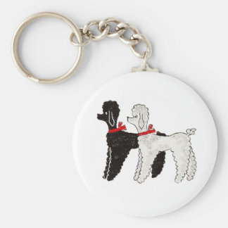 Pretty Poodles Basic Round Button Keychain
