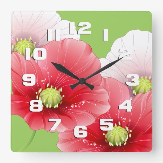 Pretty Poppies Floral Square Wall Clock