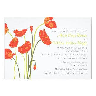 Pretty Poppies Horizontal Invitation Card