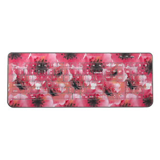 Pretty Poppies Watercolor Wireless Keyboard
