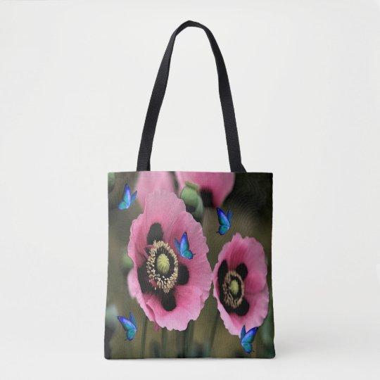 Pretty Poppy Flower Butterfly Tote Bag