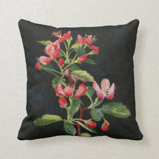 Pretty Prairie Crabapple Black and Pink Floral Throw Pillow