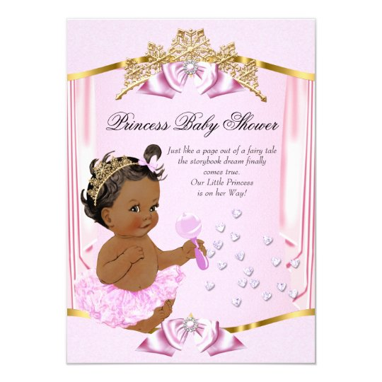 Pretty Princess Baby Shower Pink Gold Ethnic Card