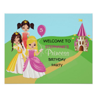 Pretty Princess Girls Birthday Party Poster