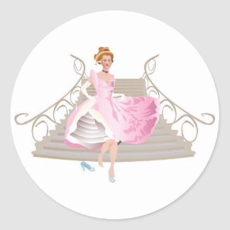 Pretty Princess in a Pink Gown Classic Round Sticker