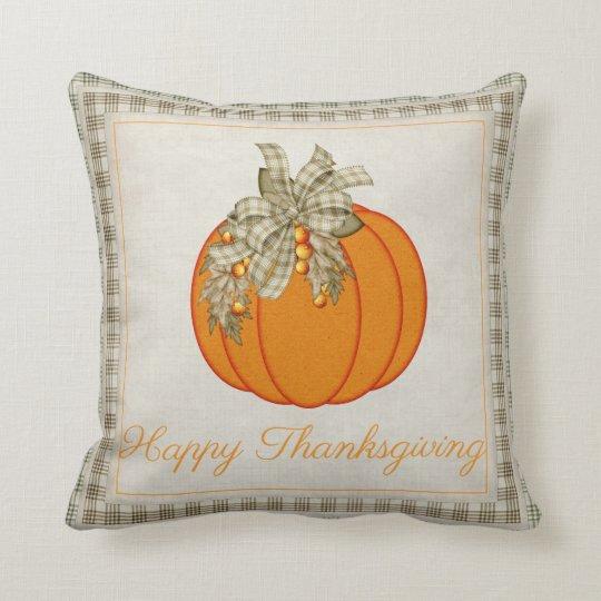 Pretty Pumpkin Happy Thanksgiving Throw Pillow D3