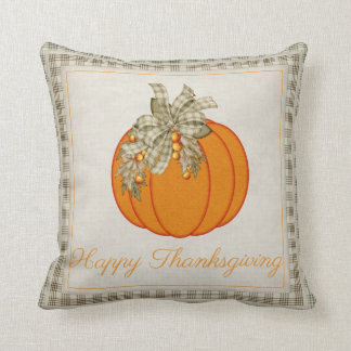 Pretty Pumpkin Happy Thanksgiving Throw Pillow D3
