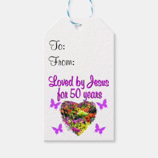 PRETTY PURPLE 50TH BIRTHDAY DESIGN PACK OF GIFT TAGS