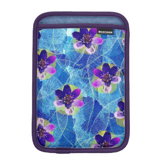 Pretty Purple and Blue Artistic Floral Pattern iPad Mini Sleeve
