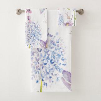 Pretty Purple and Blue Watercolor Floral Bath Towel Set