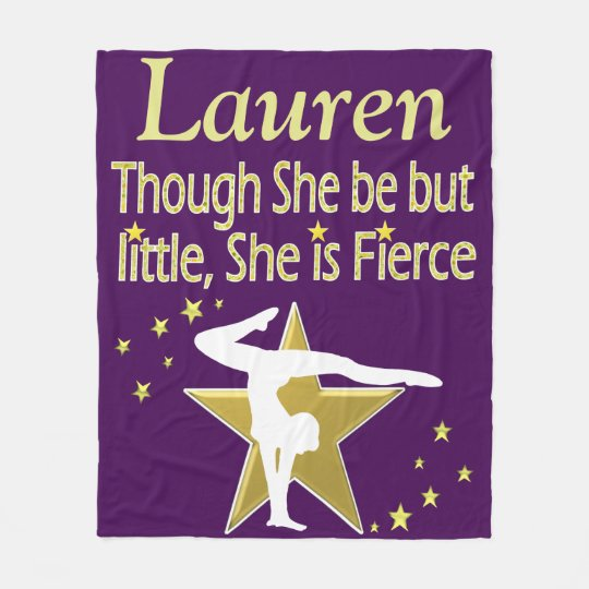 PRETTY PURPLE AND GOLD PERSONALIZE GYMNAST BLANKET