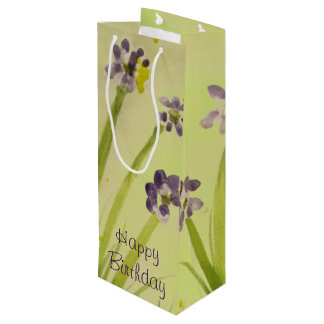 Pretty Purple And Lime Wine Gift-Bag Wine Gift Bag
