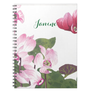 Pretty Purple and Pink Cyclamen Flowers Notebook