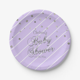 Pretty Purple and Silver - Baby Shower Paper Plate