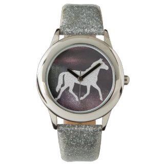 Pretty Purple and Silver Gitter Horse Watch