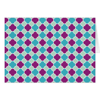 Pretty Purple and Turquoise Quatrefoil Pattern Card