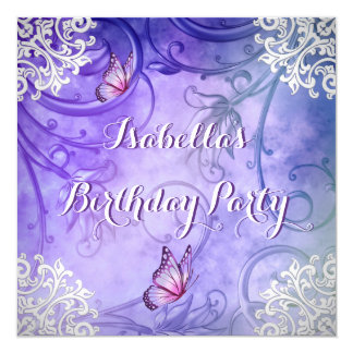 "Pretty Purple and White Butterfly Damask Birthday 5.25"" Square Invitation Card"