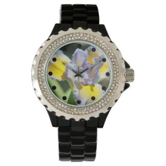 Pretty Purple and Yellow Iris Rhinestone Watch