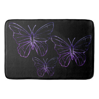 Pretty purple black butterfly Bathroom mat