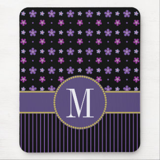 Pretty Purple Black Floral Striped Gold Monogram Mouse Pad