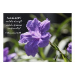 Pretty purple bloom w/ bible verse about faith poster