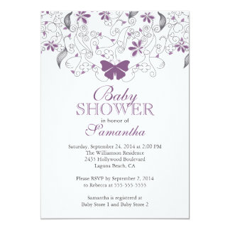 "Pretty Purple Butterfly Baby Girl Baby Shower 5"" X 7"" Invitation Card"