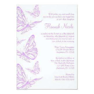 Pretty Purple Butterfly Bat Mitzvah Invitations