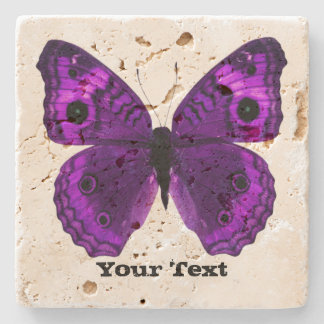 Pretty Purple Butterfly Custom Stone Coaster