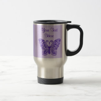 Pretty Purple Butterfly Mugs with YOUR TEXT