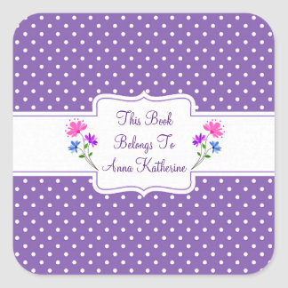 Pretty Purple Dots Country Chic Bookplate/Sticker Square Sticker